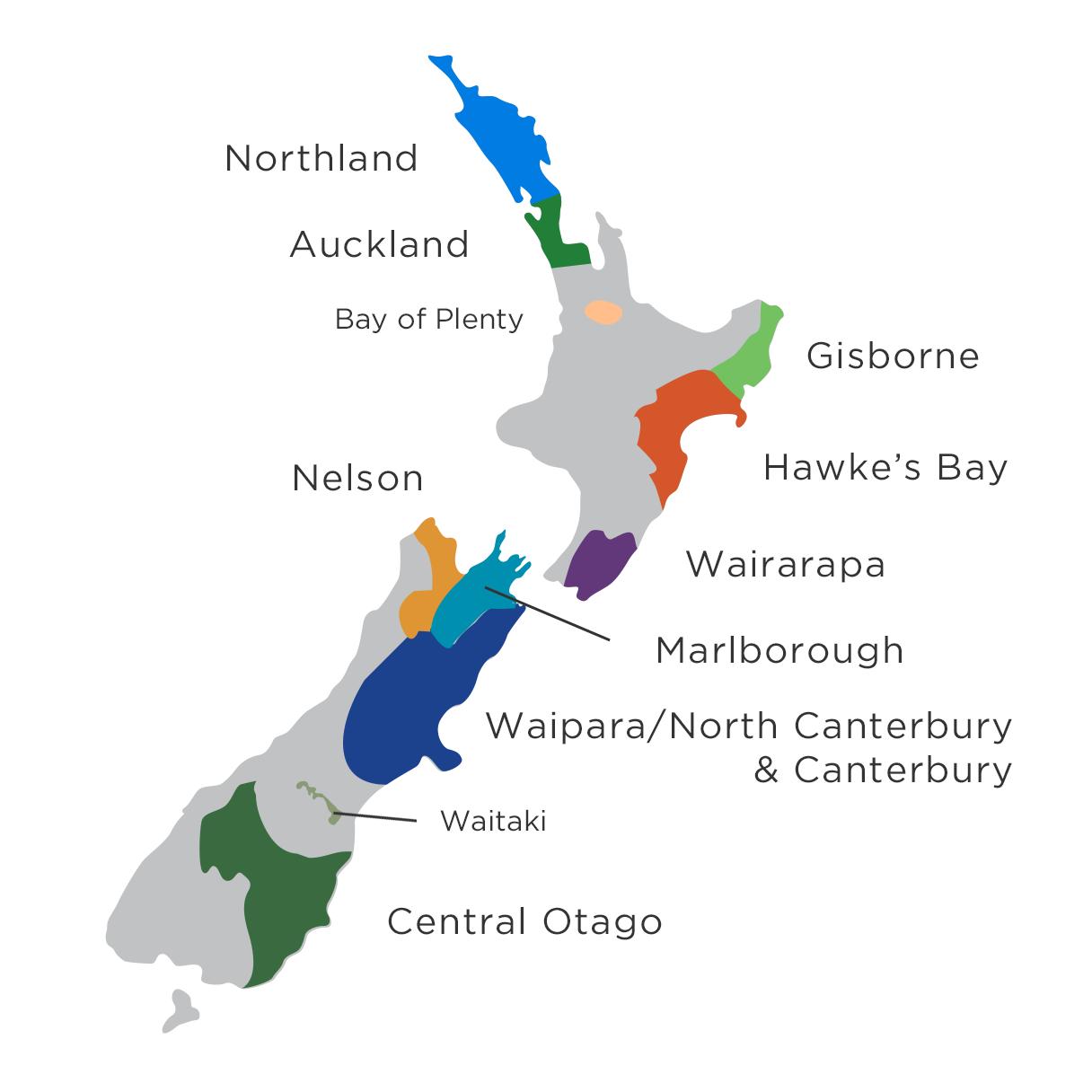 ニュージーランドワイン地域マップ